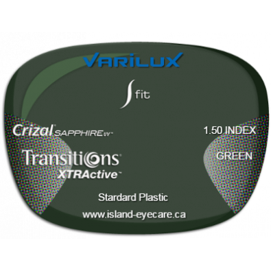 Varilux S Fit 1.50 Crizal Sapphire UV Transitions XTRActive - Green