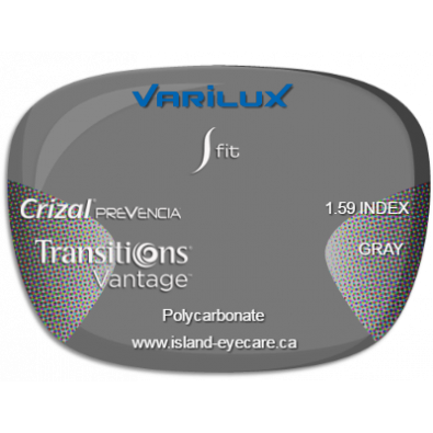 Varilux S Fit 1.59 Crizal Prevencia Transitions Vantage - Gray