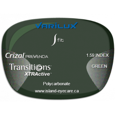 Varilux S Fit 1.59 Crizal Prevencia Transitions XTRActive - Green