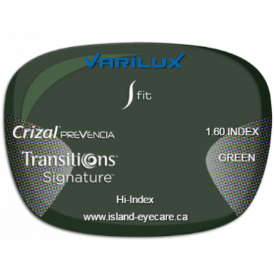 Varilux S Fit 1.60 Crizal Prevencia Transitions Signature - Green
