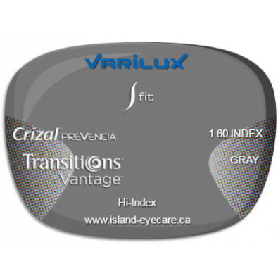Varilux S Fit 1.60 Crizal Prevencia Transitions Vantage - Gray