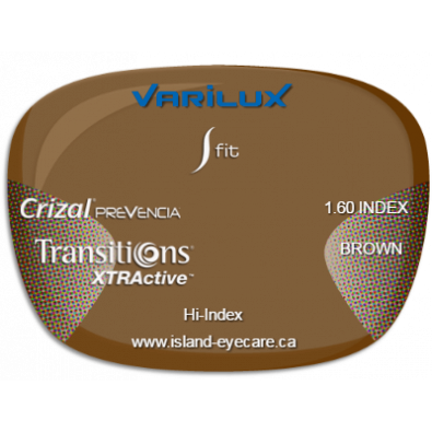 Varilux S Fit 1.60 Crizal Prevencia Transitions XTRActive - Brown