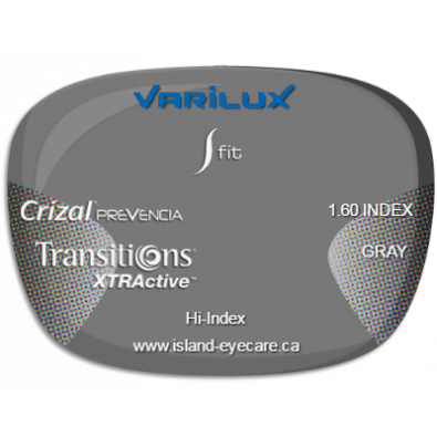 Varilux S Fit 1.60 Crizal Prevencia Transitions XTRActive - Gray