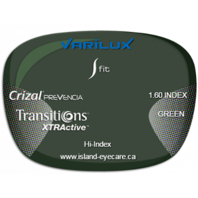 Varilux S Fit 1.60 Crizal Prevencia Transitions XTRActive - Green