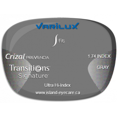 Varilux S Fit 1.74 Crizal Prevencia Transitions Signature - Gray