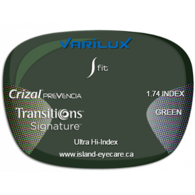 Varilux S Fit 1.74 Crizal Prevencia Transitions Signature - Green