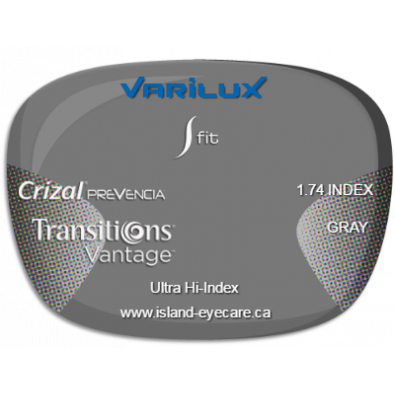 Varilux S Fit 1.74 Crizal Prevencia Transitions Vantage - Gray