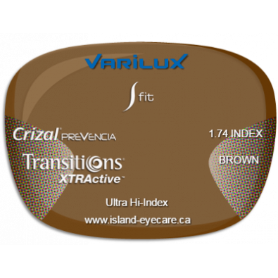 Varilux S Fit 1.74 Crizal Prevencia Transitions XTRActive - Brown