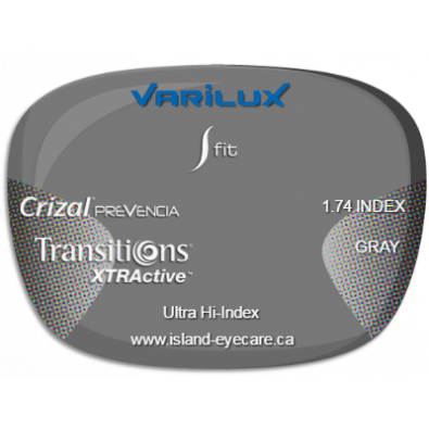 Varilux S Fit 1.74 Crizal Prevencia Transitions XTRActive - Gray