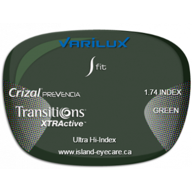 Varilux S Fit 1.74 Crizal Prevencia Transitions XTRActive - Green