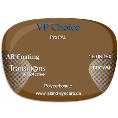 VP Choice Pro PAL 1.59 AR Coating Transitions XTRActive - Brown