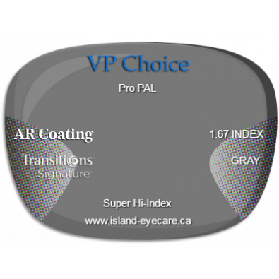 VP Choice Pro PAL 1.67 AR Coating Transitions Signature - Gray