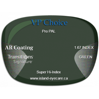 VP Choice Pro PAL 1.67 AR Coating Transitions Signature - Green