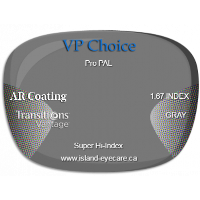 VP Choice Pro PAL 1.67 AR Coating Transitions Vantage - Gray