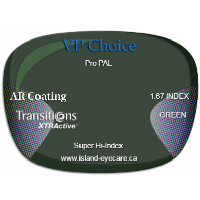 VP Choice Pro PAL 1.67 AR Coating Transitions XTRActive - Green