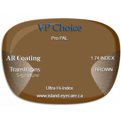 VP Choice Pro PAL 1.74 AR Coating Transitions Signature - Brown