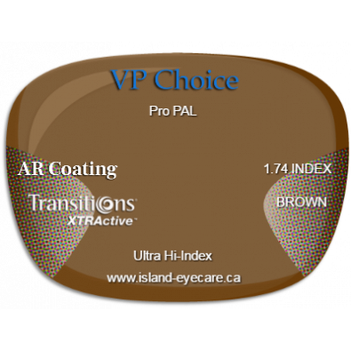 VP Choice Pro PAL 1.74 AR Coating Transitions XTRActive - Brown