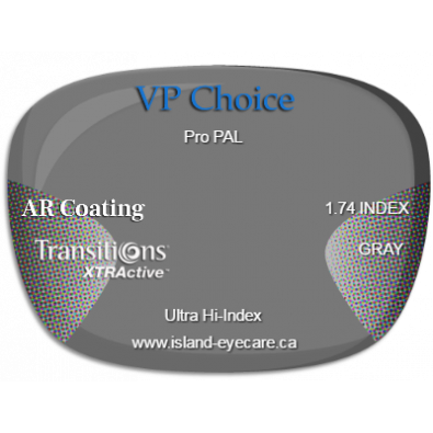 VP Choice Pro PAL 1.74 AR Coating Transitions XTRActive - Gray