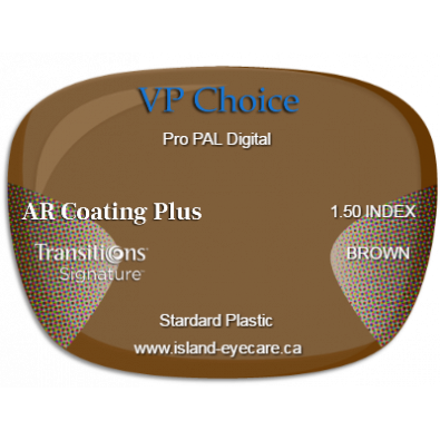VP Choice Pro PAL Digital 1.50 AR Coating Plus Transitions Signature - Brown