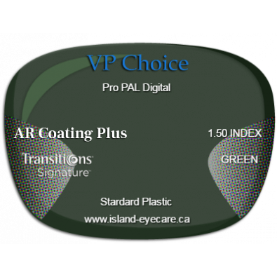 VP Choice Pro PAL Digital 1.50 AR Coating Plus Transitions Signature - Green