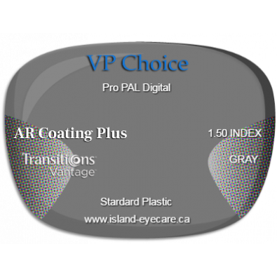 VP Choice Pro PAL Digital 1.50 AR Coating Plus Transitions Vantage - Gray