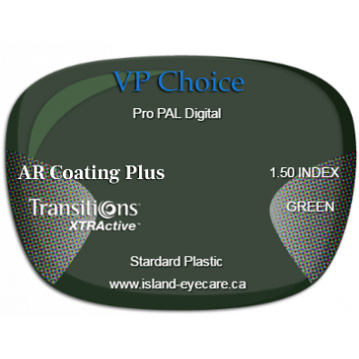 VP Choice Pro PAL Digital 1.50 AR Coating Plus Transitions XTRActive - Green