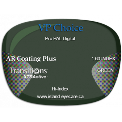 VP Choice Pro PAL Digital 1.60 AR Coating Plus Transitions XTRActive - Green