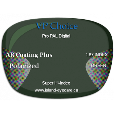 VP Choice Pro PAL Digital 1.67 AR Coating Plus Polarized - Green