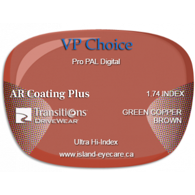 VP Choice Pro PAL Digital 1.74 AR Coating Plus Transitions Drivewear  - Green Copper Brown