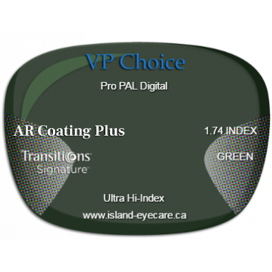 VP Choice Pro PAL Digital 1.74 AR Coating Plus Transitions Signature - Green