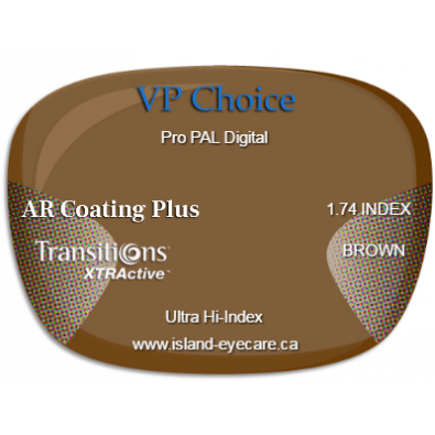 VP Choice Pro PAL Digital 1.74 AR Coating Plus Transitions XTRActive - Brown