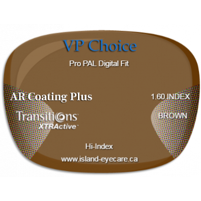 VP Choice Pro PAL Digital Fit 1.60 AR Coating Plus Transitions XTRActive - Brown