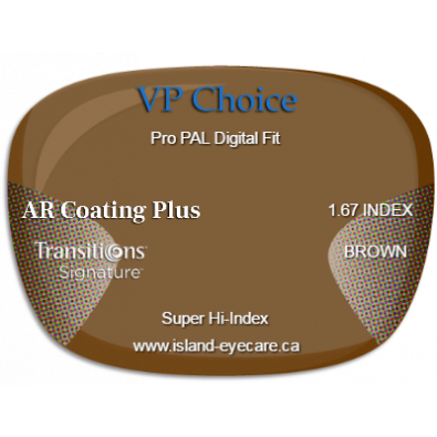 VP Choice Pro PAL Digital Fit 1.67 AR Coating Plus Transitions Signature - Brown