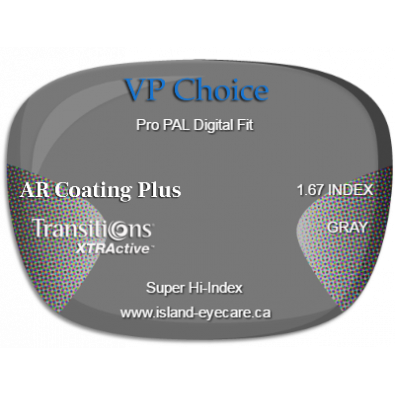 VP Choice Pro PAL Digital Fit 1.67 AR Coating Plus Transitions XTRActive - Gray