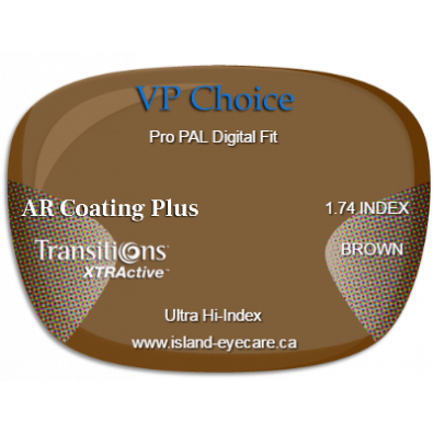 VP Choice Pro PAL Digital Fit 1.74 AR Coating Plus Transitions XTRActive - Brown