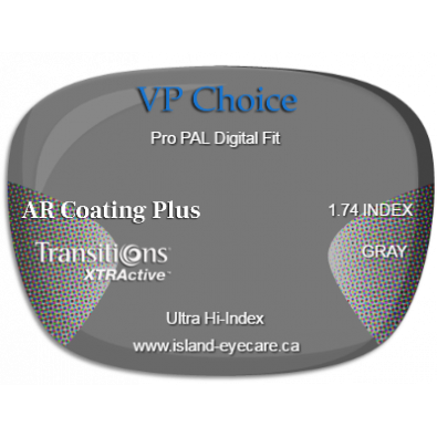 VP Choice Pro PAL Digital Fit 1.74 AR Coating Plus Transitions XTRActive - Gray