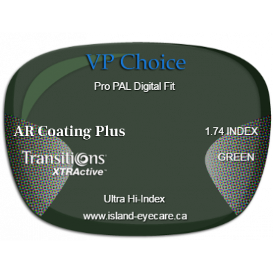 VP Choice Pro PAL Digital Fit 1.74 AR Coating Plus Transitions XTRActive - Green