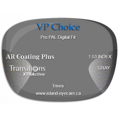 VP Choice Pro PAL Digital Fit Trivex AR Coating Plus Transitions XTRActive - Gray