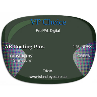 VP Choice Pro PAL Digital Trivex AR Coating Plus Transitions Signature - Green