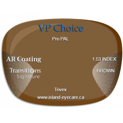 VP Choice Pro PAL Trivex AR Coating Transitions Signature - Brown