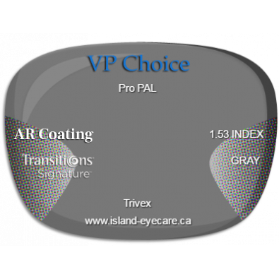 VP Choice Pro PAL Trivex AR Coating Transitions Signature - Gray