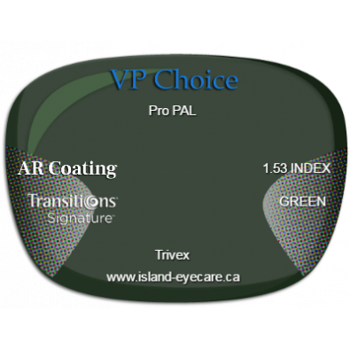 VP Choice Pro PAL Trivex AR Coating Transitions Signature - Green