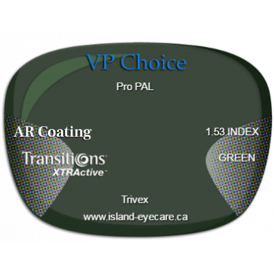 VP Choice Pro PAL Trivex AR Coating Transitions XTRActive - Green