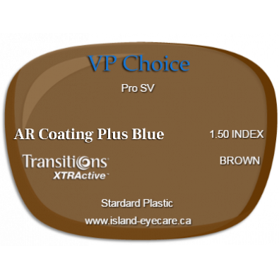 VP Choice Pro SV 1.50 AR Coating Plus Blue Transitions XTRActive - Brown