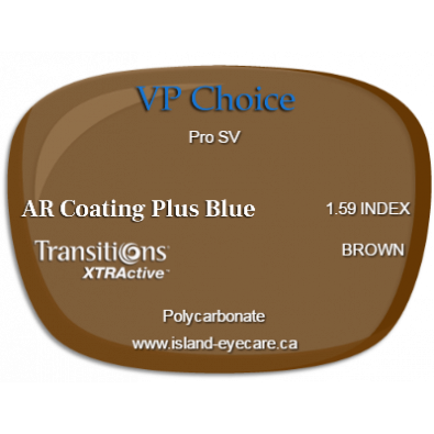 VP Choice Pro SV 1.59 AR Coating Plus Blue Transitions XTRActive - Brown