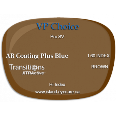 VP Choice Pro SV 1.60 AR Coating Plus Blue Transitions XTRActive - Brown