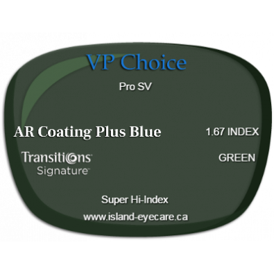 VP Choice Pro SV 1.67 AR Coating Plus Blue Transitions Signature - Green