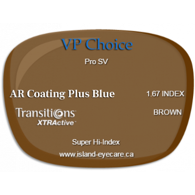 VP Choice Pro SV 1.67 AR Coating Plus Blue Transitions XTRActive - Brown