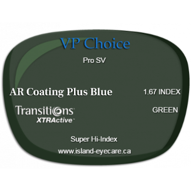 VP Choice Pro SV 1.67 AR Coating Plus Blue Transitions XTRActive - Green