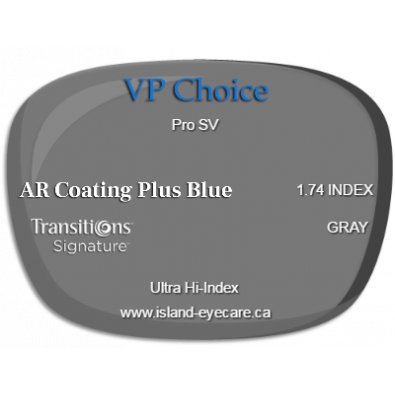 VP Choice Pro SV 1.74 AR Coating Plus Blue Transitions Signature - Gray